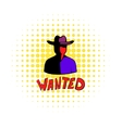 Vintage wanted poster icon comics style vector image