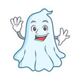 waving cute ghost character cartoon vector image