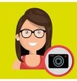 woman camera photography icon vector image
