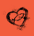 heart and christian fish vector image vector image