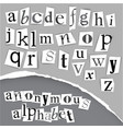 anonymous alphabet made from newspapers vector image vector image