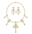 Necklace with pearls and earring vector image