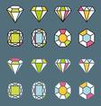 design facet crystal gem shape logo element lined vector image