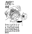 calendar with dry brush lettering april 2018 dog vector image