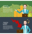financial success and lost investment money chart vector image
