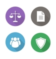 Lawyer flat design icons vector image