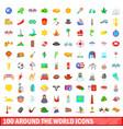 100 around the world icons set cartoon style vector image