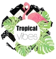 Tropical exotic summer print with palm leaves and vector image