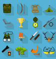 flat color hunting icons set isolated vector image