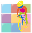 Sport icon design for cycling in color vector image