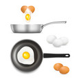 cracked and scrambled chicken eggs icon set vector image