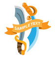 pirate sword with ribbon banner cold medieval vector image