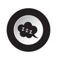Round black white button - zzz speech bubble icon vector image