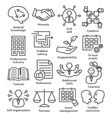Business management icons in line style Pack 22 vector image