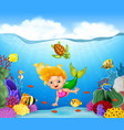 cartoon mermaid with beautiful underwater world vector image
