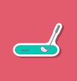 paper sticker on stylish background golf stick and vector image