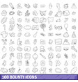 100 bounty icons set outline style vector image vector image