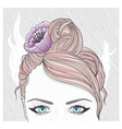 Young girl with flower in hair vector image
