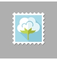 Cotton flat stamp with long shadow vector image