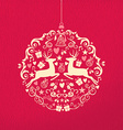 Merry christmas happy new year ornament ball deer vector image