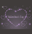 pink glowing hearts on a colored background vector image
