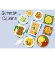 German cuisine dinner with beer and dessert icon vector image