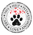 dog paw heart love sign icon pets symbol textured vector image