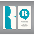 Business card template letter R vector image