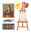 Art equipment set and masterpiece colorful vector image