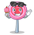 With ice cream cute lollipop character cartoon vector image