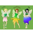 Set of cute little fairies in flower dresses vector image