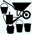 Garden wheelbarrow watering can and buckets vector image