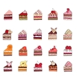 Set with different fruit cake slices Different vector image vector image
