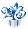 Blue ribbon in the shape of 2013 vector image