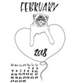 calendar with dry brush lettering february 2018 vector image