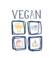 organic vegan food hand drawn icon set vector image
