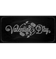 Valentines Day Lettering On Chalkboard Background vector image
