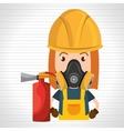 woman mask extinguisher icon vector image