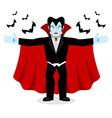 Happy Dracula in red mantle Good cheerful vampire vector image