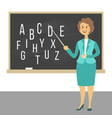 young female teacher on lesson at blackboard in vector image vector image