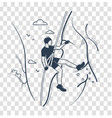 silhouette of a climber linear style vector image