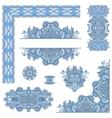 set of blue colour paisley floral design elements vector image vector image