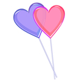 Two love lollipops hearts isolated on white vector image