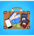 Travel suitcase passport and plane tickets vector image