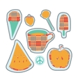 happy colorful stickers and embroidery patches vector image