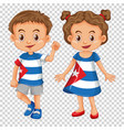 Boy and girl wearing shirts with cuba flag vector image