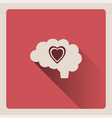 brain thinking in love on red background with vector image