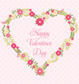 Happy Valentines Day greeting card with flowers in vector image