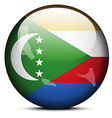 Map on flag button of Union of the Comoros vector image