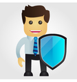Business man with protection shield vector image vector image